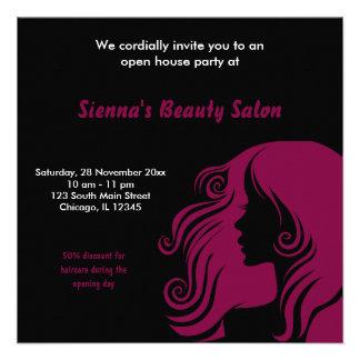 Salão de beleza da grande inauguração (marrom) convite personalizado