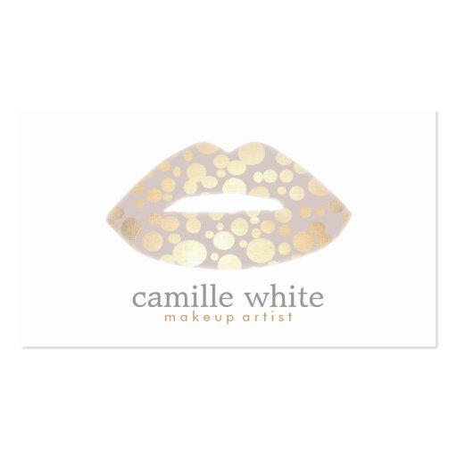 Salão de beleza do logotipo dos lábios do ouro do modelo cartões de visita