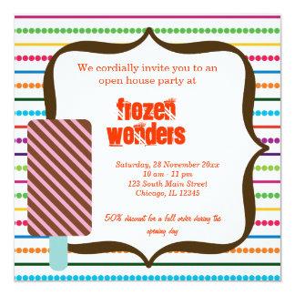 Salão de beleza do sorvete da casa aberta convite quadrado 13.35 x 13.35cm