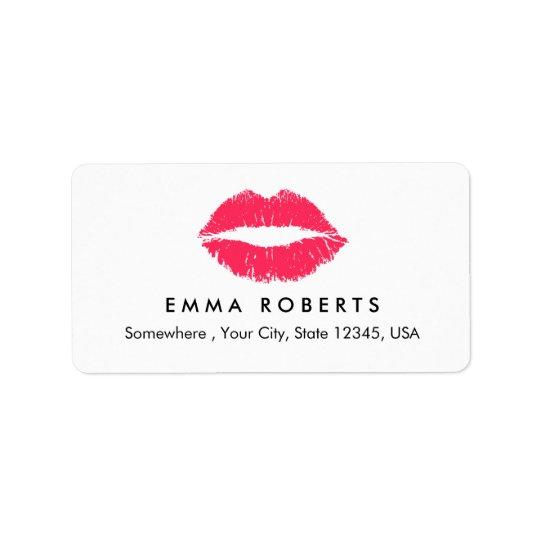 Salão de beleza elegante dos lábios vermelhos do etiqueta de endereço
