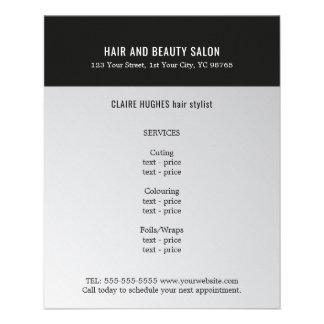 Salão de beleza escuro elegante do preto da prata flyer