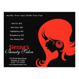 Salão de beleza (Firebrick) Panfletos Personalizado