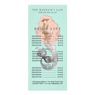 Salão de beleza litoral feminino da sereia à moda 10.16 x 22.86cm panfleto
