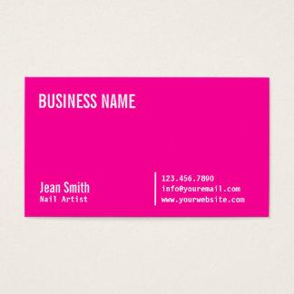 Salão de beleza moderno do prego do rosa quente cartão de visitas