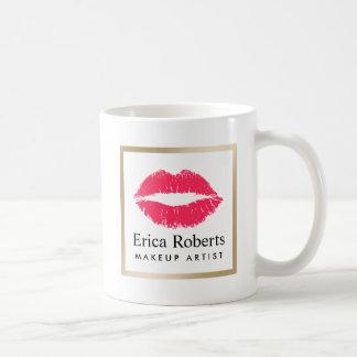 Salão de beleza moderno dos lábios vermelhos do caneca de café