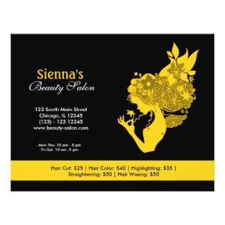 Salão de beleza (ouro) flyer 21.59 x 27.94cm