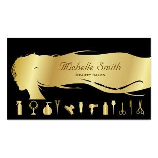 Salão de beleza preto luxuoso dos cosméticos do cartão de visita