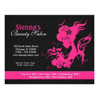 Salão de beleza (profundamente - rosa) flyer 21.59 x 27.94cm
