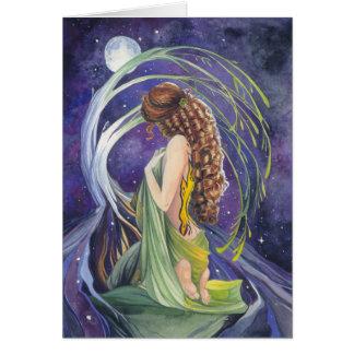Salgueiro, a lua e cartão vazio da noite