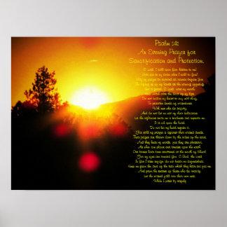Salmo 141 com por do sol brilhante sobre montanhas poster