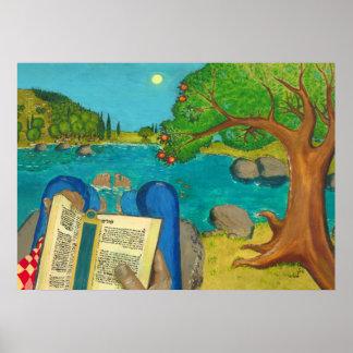 Salmo 1 em pinturas cristãs judaicas da Bíblia Pôster