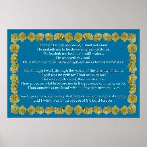 Salmo 23 com quadro amarelo do cravo posters