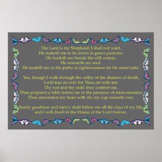 Salmo 23 com quadro da borboleta poster