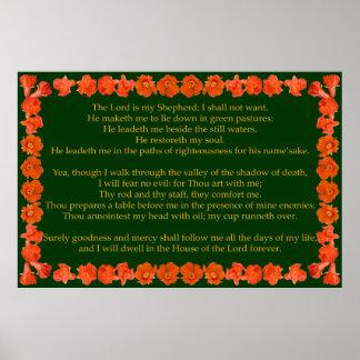 Salmo 23 com quadro da romã posteres