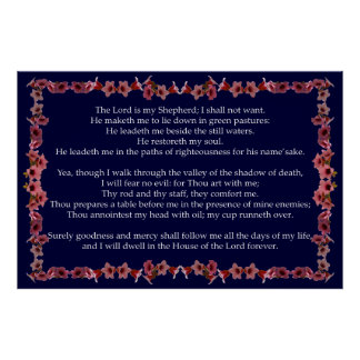 Salmo 23 com quadro de Bell da árvore Posteres