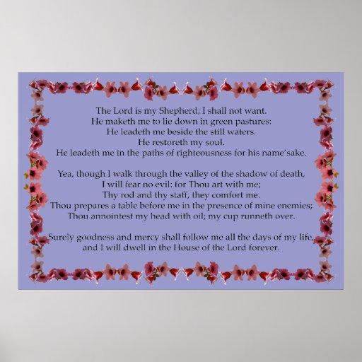 Salmo 23 com quadro de Bell da árvore Posters