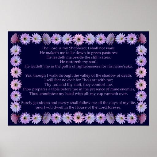Salmo 23 com quadro do cacto de Nightblooming Posters