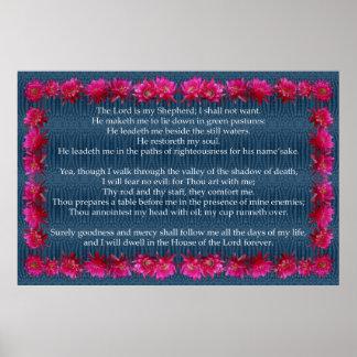 Salmo 23 com quadro do cacto de ouriço poster
