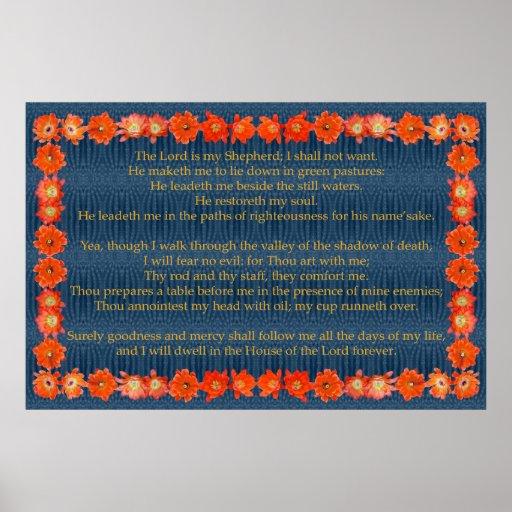 Salmo 23 com quadro do cacto de ouriço pôsteres
