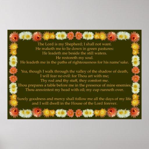 Salmo 23 com quadro do cacto de tambor impressão