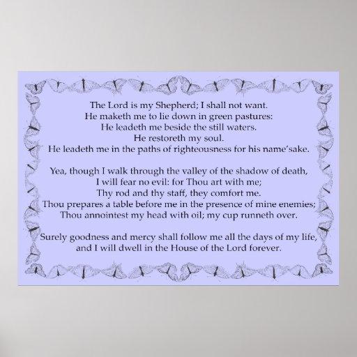 Salmo 23 com quadro do esboço da borboleta poster