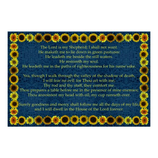 Salmo 23 com quadro do girassol impressão