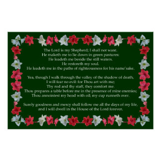 Salmo 23 com um quadro do Amaryllis Poster