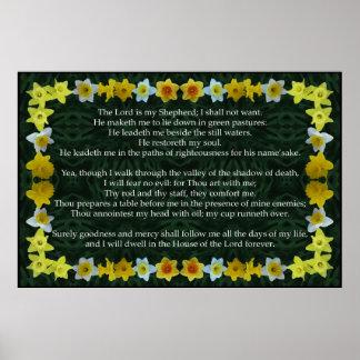 Salmo 23 com um quadro do Daffodil Posters
