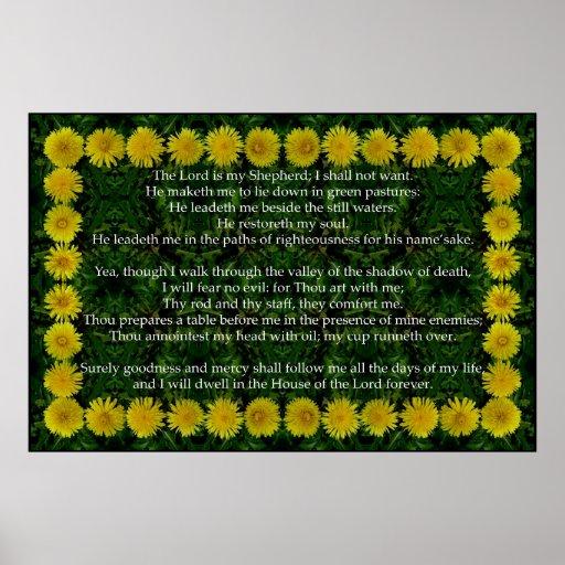 Salmo 23 com um quadro do dente-de-leão posters