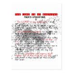 Salmo 23: Estilo vermelho, preto, branco do Grunge Cartoes Postais