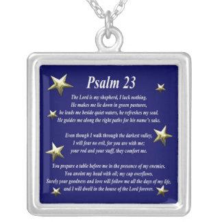Salmo bem escolhido 23 da estrela colar banhado a prata