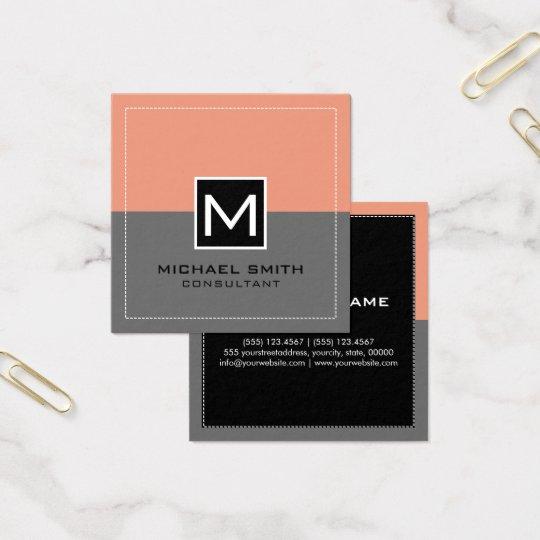 Salmões cinzentos modernos elegantes do monograma cartão de visitas quadrado
