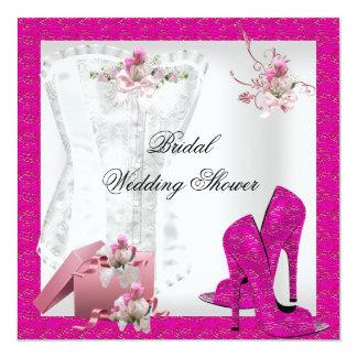 Saltos altos cor-de-rosa brancos do espartilho do convites