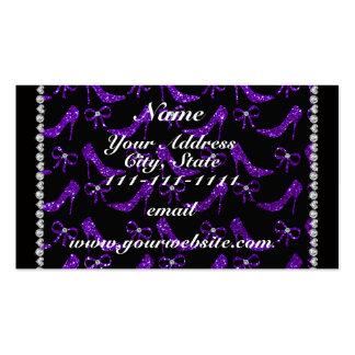 Saltos altos roxos personalizados do brilho do cartão de visita