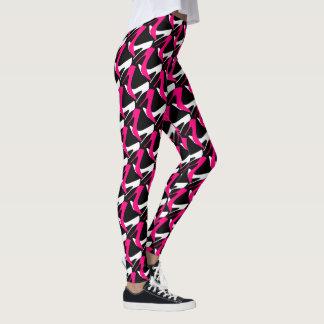 Saltos cor-de-rosa & brancos leggings