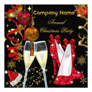 Saltos incorporados de Champagne da festa de Natal Convites Personalizados