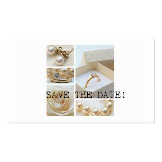 Salvar a colagem branca do casamento da data cartão de visita