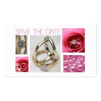 Salvar a colagem do casamento do rosa da data cartão de visita