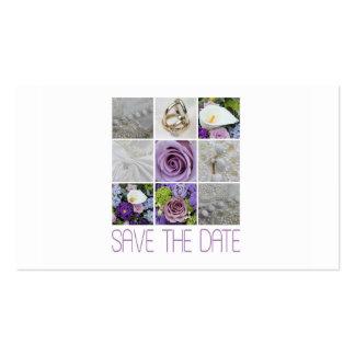 Salvar a colagem roxa do casamento da data cartão de visita