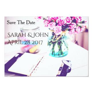 Salvar a data - bonito no rosa convite 12.7 x 17.78cm