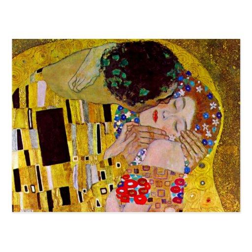 Salvar a data com o beijo por Gustavo Klimt Cartões Postais