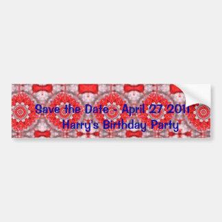 Salvar a data com teste padrão vermelho adesivo para carro