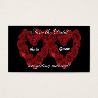 Salvar a data - coração das rosas vermelhas. cartão de visitas