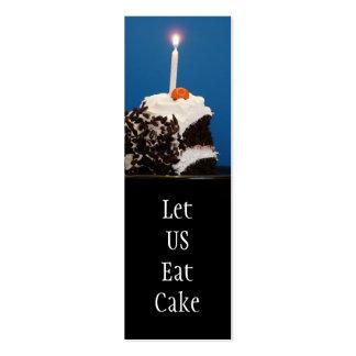 Salvar a data deixe-nos comer o marcador do bolo cartoes de visitas
