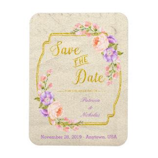 Salvar a data floral e o ouro foto com ímã retangular