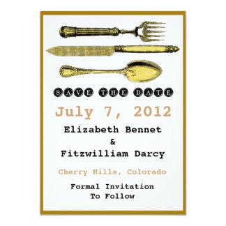 Salvar a data - forquilha e colher da faca de convite 12.7 x 17.78cm