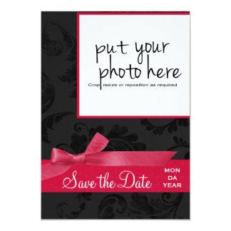 Salvar a data - foto floral & cor-de-rosa preta da convite personalizado
