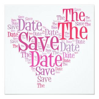 Salvar a data - máscaras do rosa convite quadrado 13.35 x 13.35cm
