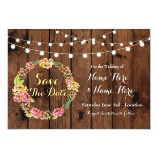 Salvar a data onde a madeira floral do casamento convite 8.89 x 12.7cm
