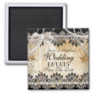 Salvar a data que Wedding o bege de creme preto Ímã Quadrado